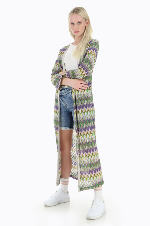 Offener Maxi-Cardigan mit Muster